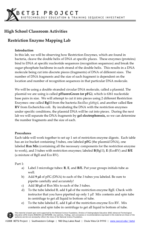 ATE Central High School Classroom Activities Restriction Enzyme – Restriction Enzymes Worksheet