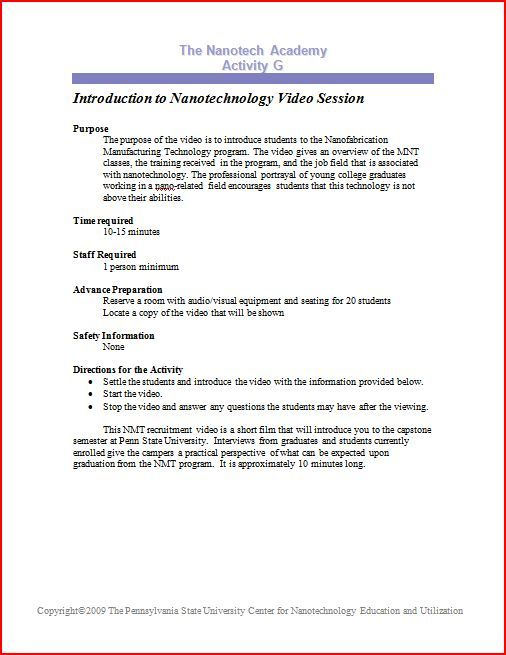 ATE Central - The Nanotech Academy Activity G: Introduction to