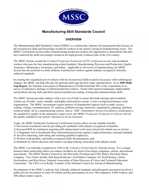 Ate Central Manufacturing Skill Standards Council Overview