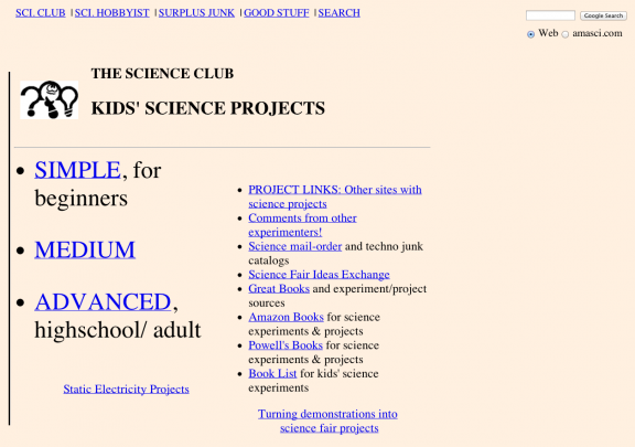 sources for science fair projects