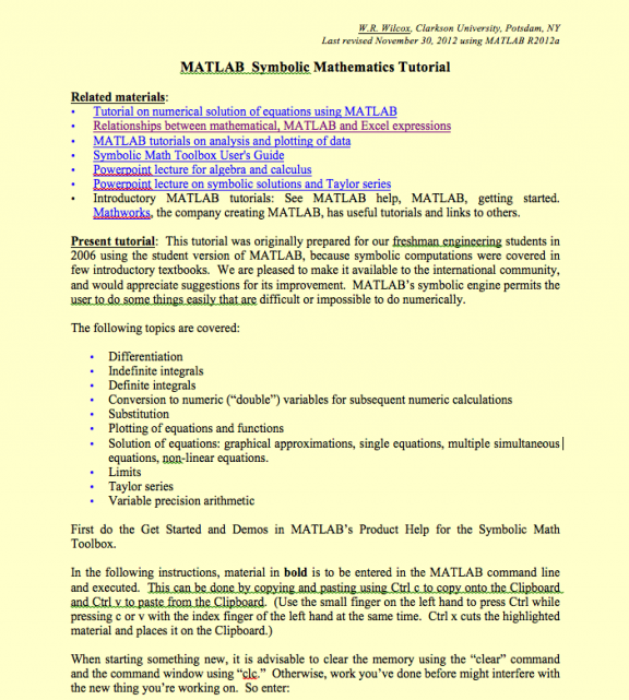 Ate Central Matlab Symbolic Mathematics Tutorial